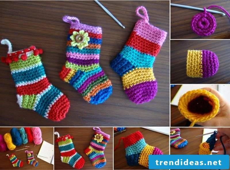 Knitting pattern for socks for children are in bright colors