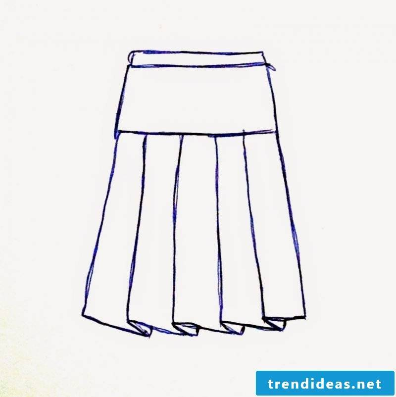 Sewing a wrap skirt to draw a sketch