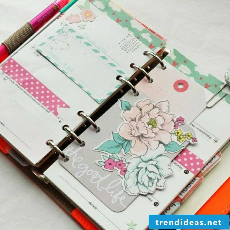 Decorate Filofaxing diary with stickers and washi tape