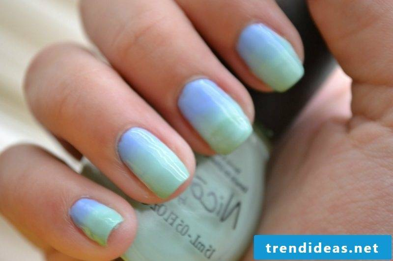 Ombre nails in pastel shades