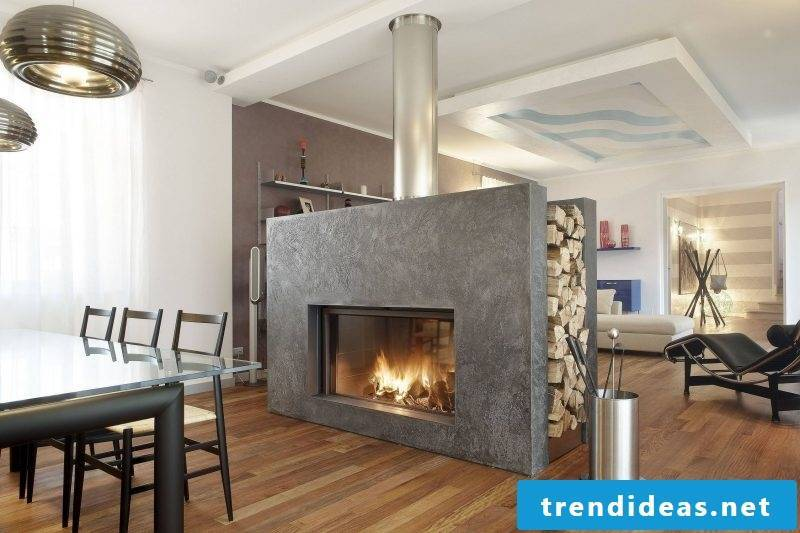 Fireplace cladding modern design with granite