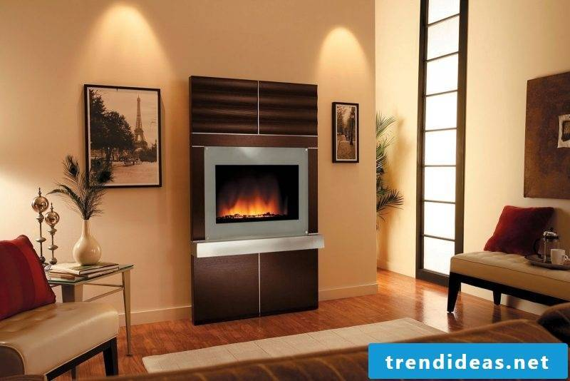 Wooden fireplace surround is perfect for both country house and modern design