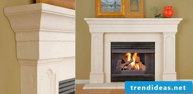 Fireplace cladding with white concrete