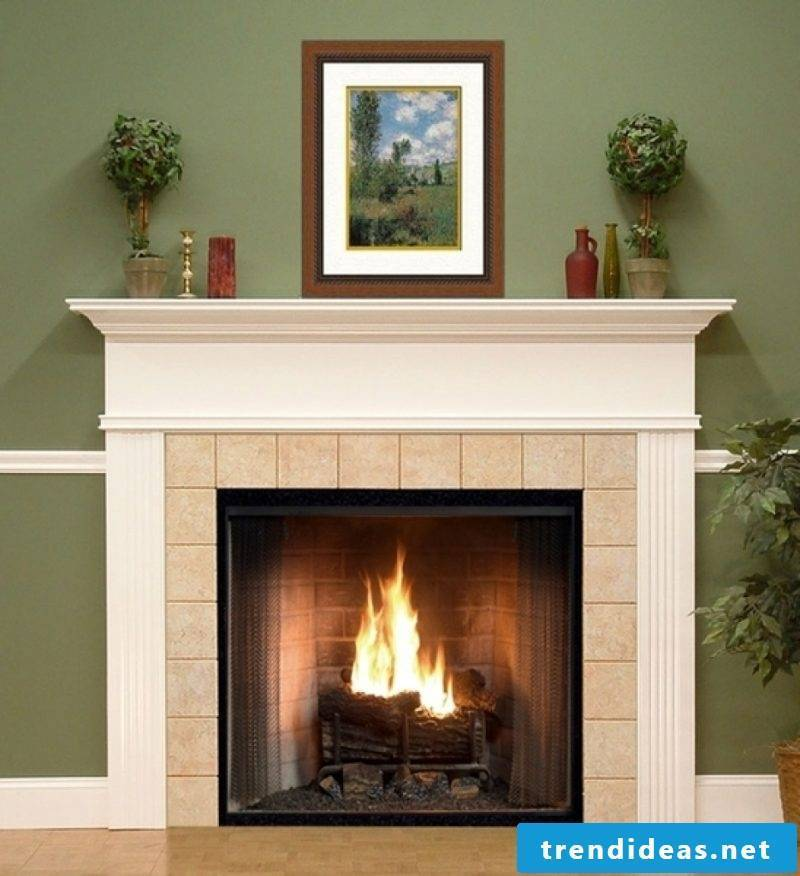 Fireplace cladding with white concrete and tiles
