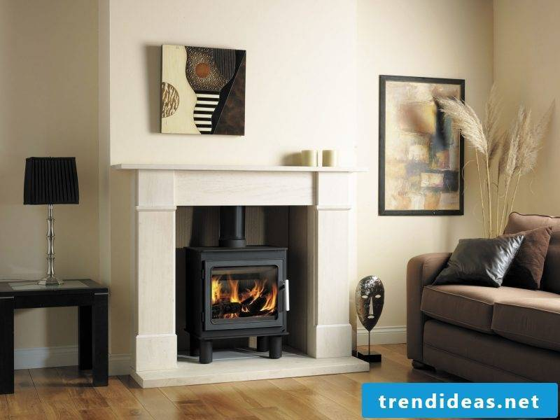 Fireplace cladding traditional in white