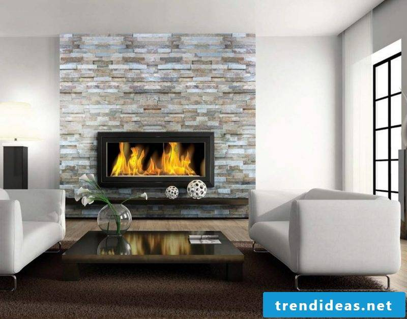 Fireplace cladding natural stones