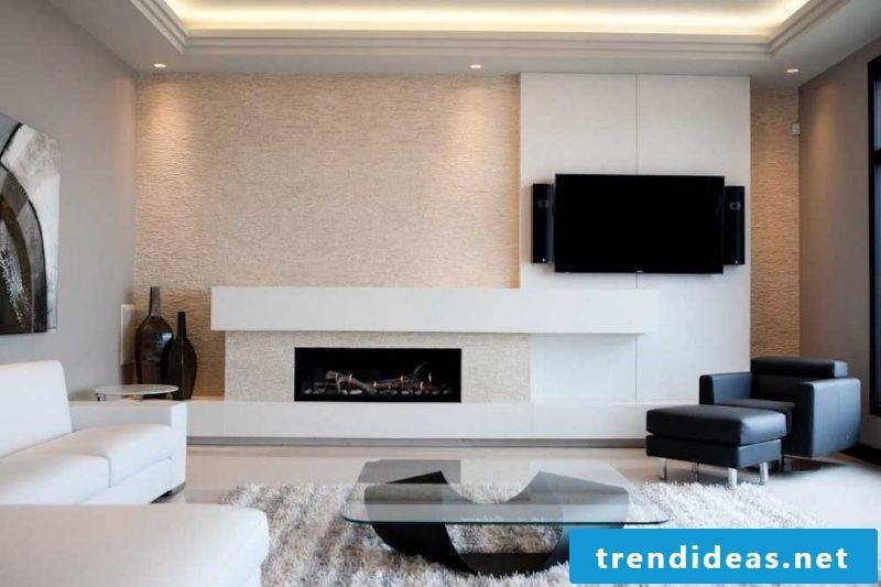 White fireplace mantel is inspired by minimalism