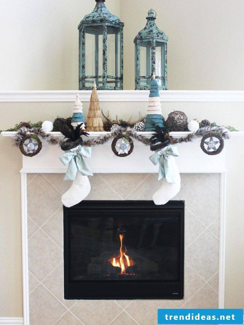 Fireplace cladding with tiles