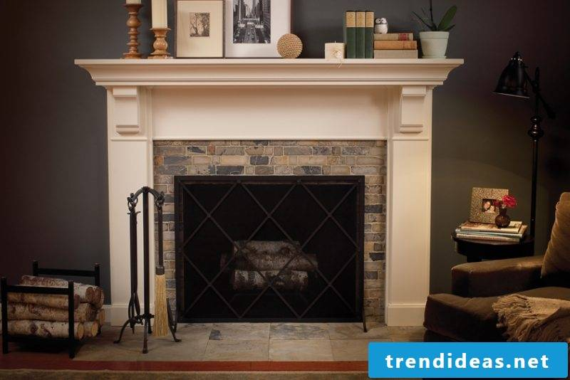 Fireplace cladding for a country-style apartment