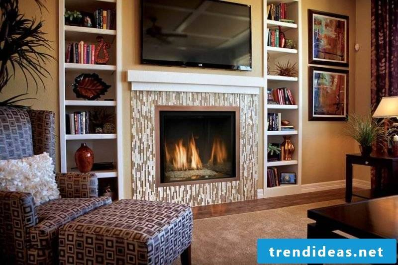 Fireplace cladding tiles mosaic