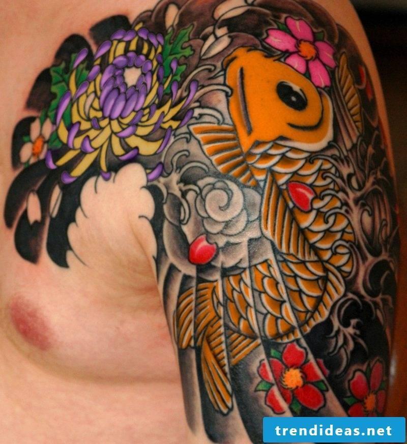 fish tattoo Colored Koi fish tattoo