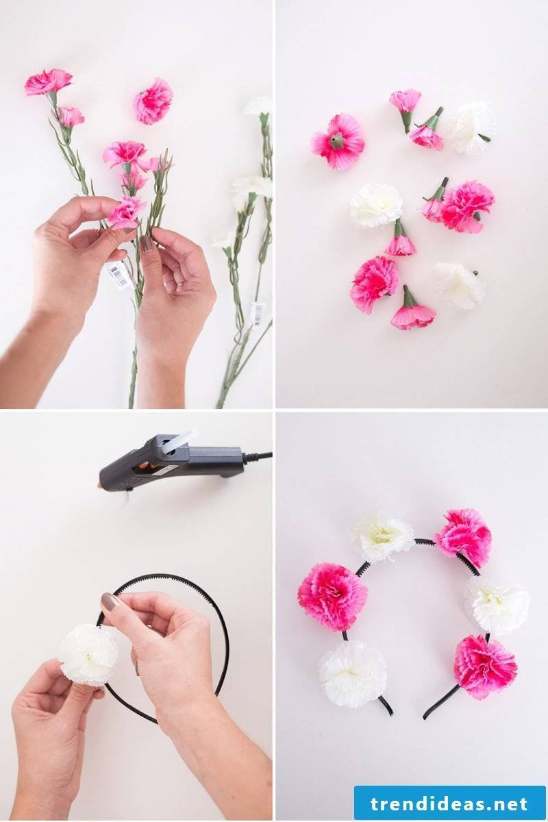 Make flower diadem itself