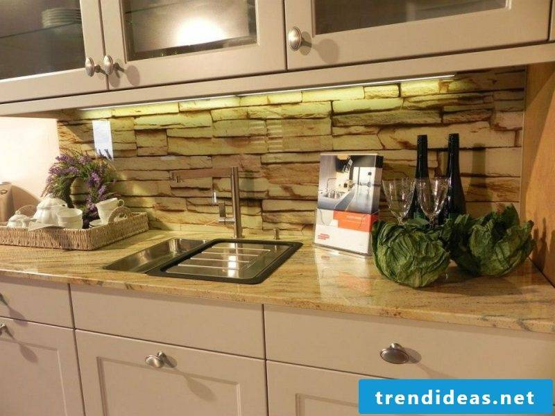 foil cake wall gives a chance to get stone look for the kitchen cheap