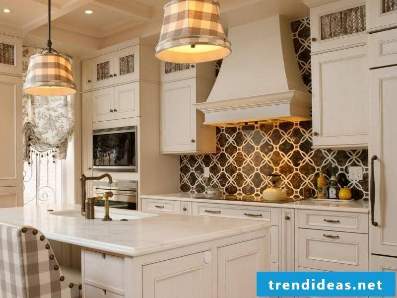 rustic kitchen with foil cake wall in the same style