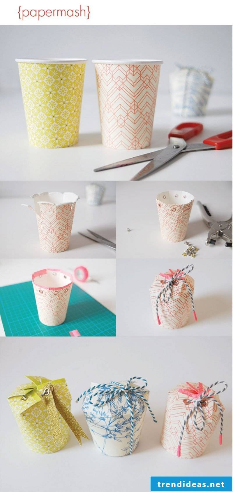 Creative idea: folding gift box with paper cup