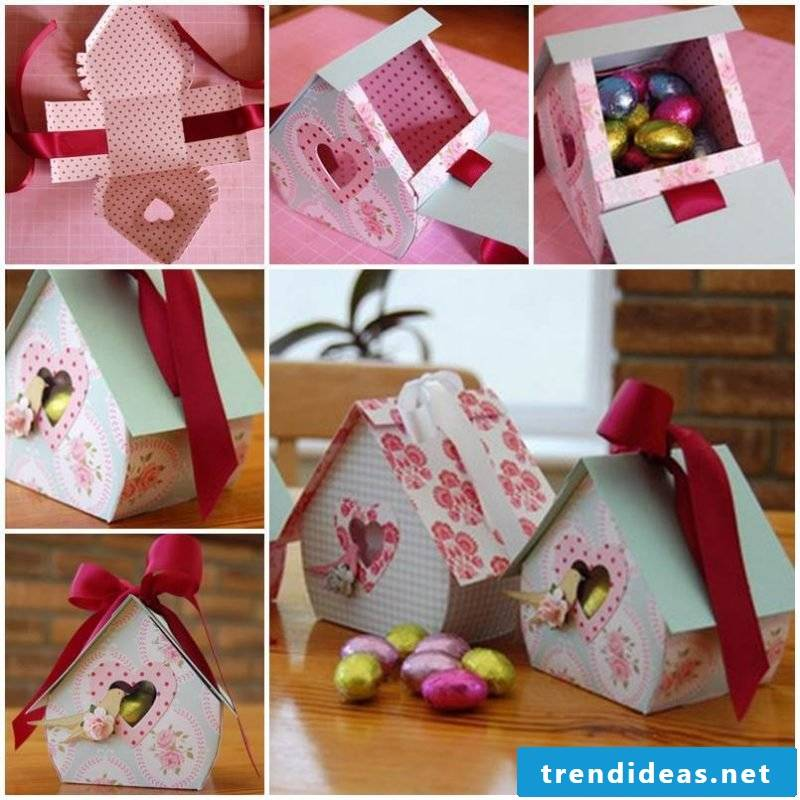 Chocolate box folding in the form of a house