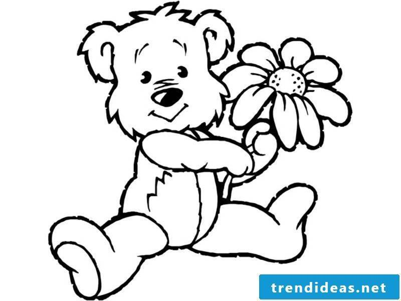 Animals for coloring bear and flower