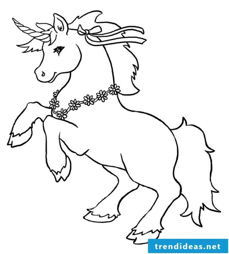 Coloring pictures Unicorn with bow