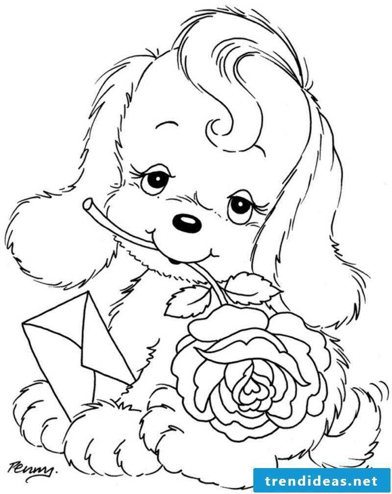 Coloring page children dog