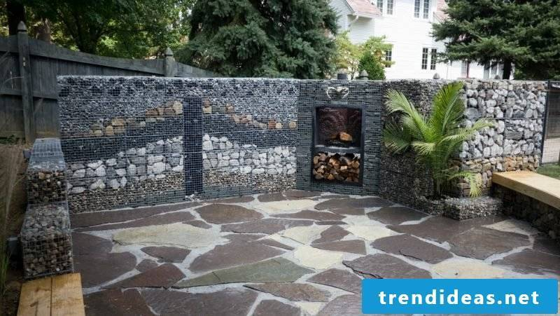 Gabion wall different stone types