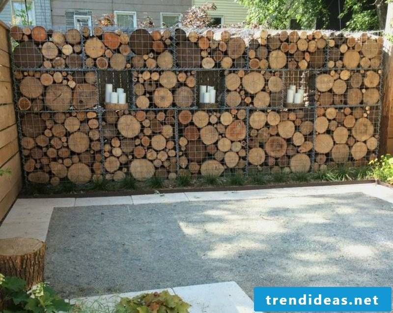 attractive wooden gabion wall