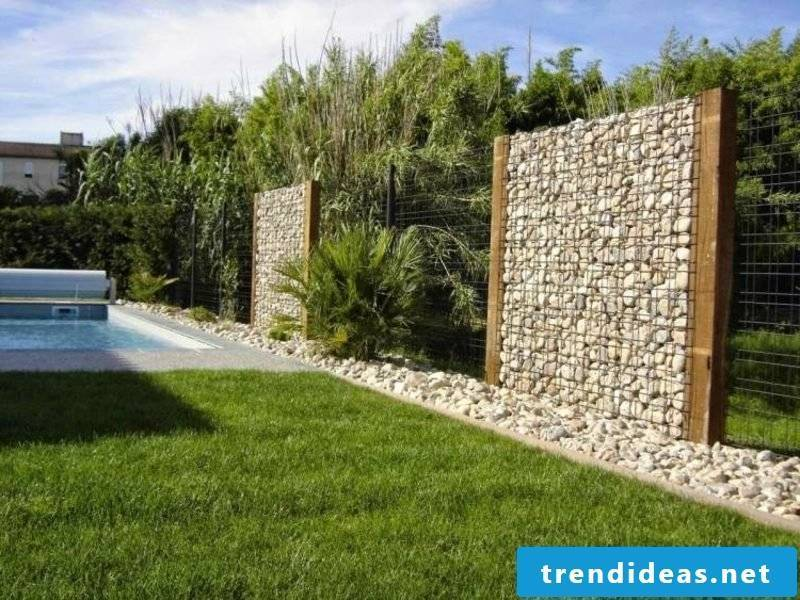 Gabion fence as bright stones