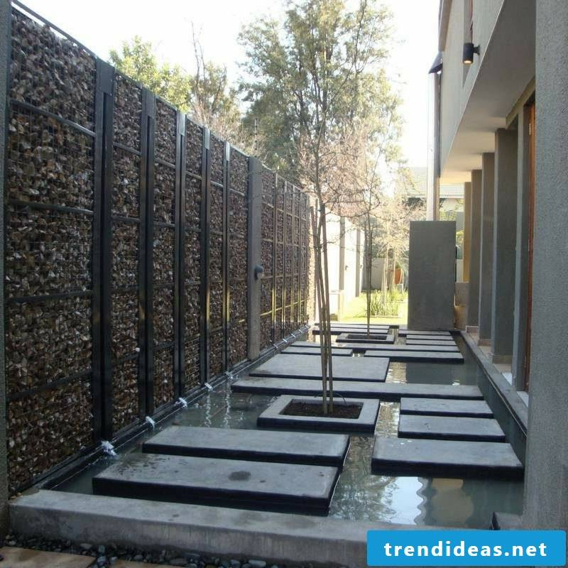 Decorating the garden gabion fence stone