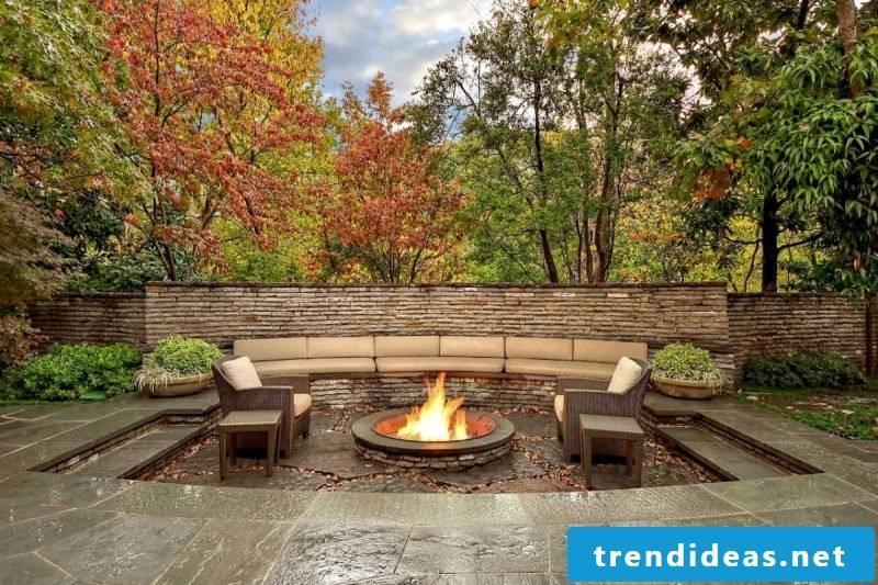 Garden fireplace Fire pit modern ideas garden design