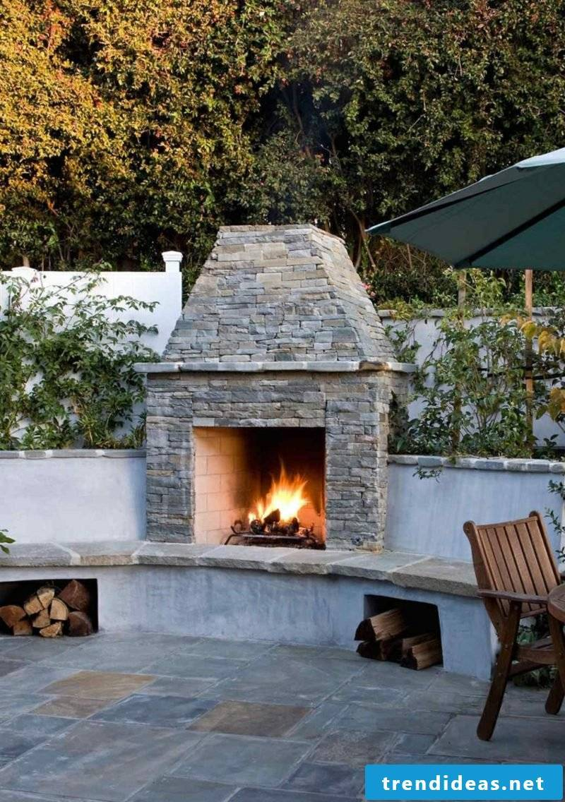 Garden fireplace build from quarry stone