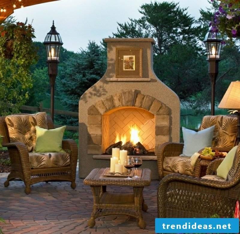 creative ideas DIY garden fireplace build