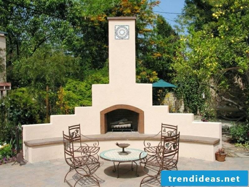 Terrace design modern garden fireplace