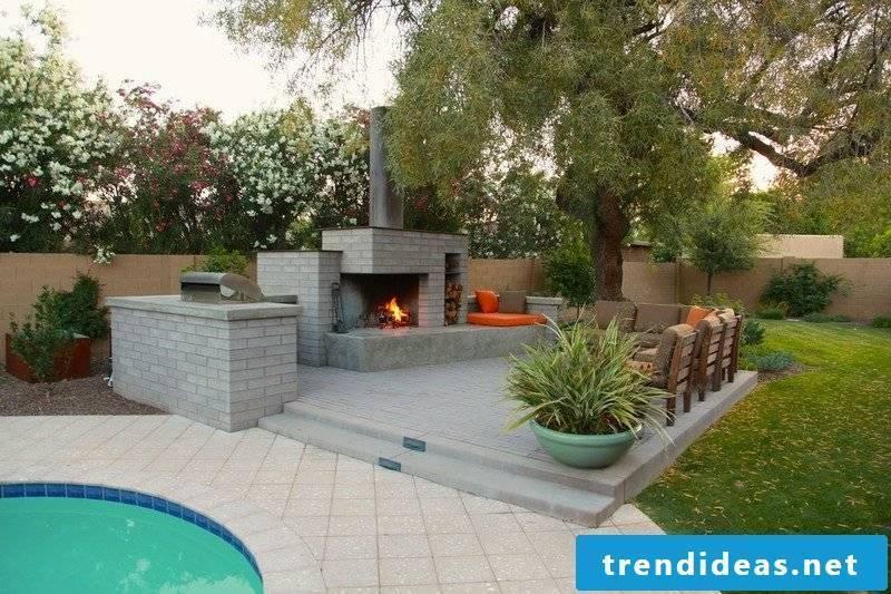 Terrace design with garden fireplace