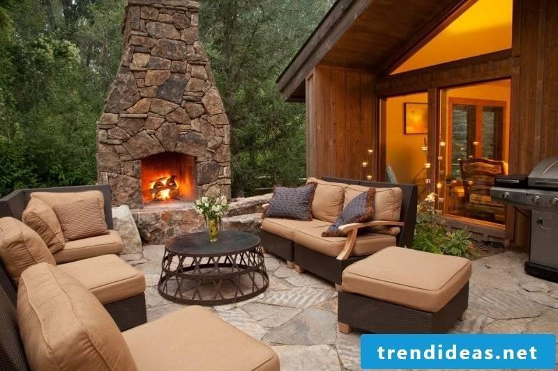 Garden fireplace build massive stone