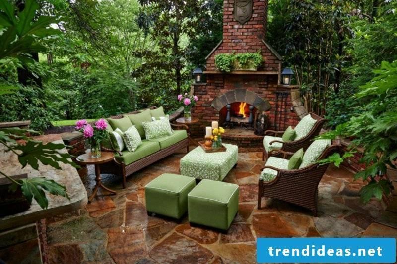 Garden fireplace itself build modern design terrace