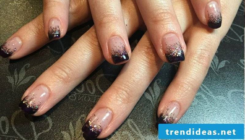 Gel nails glitter French Black