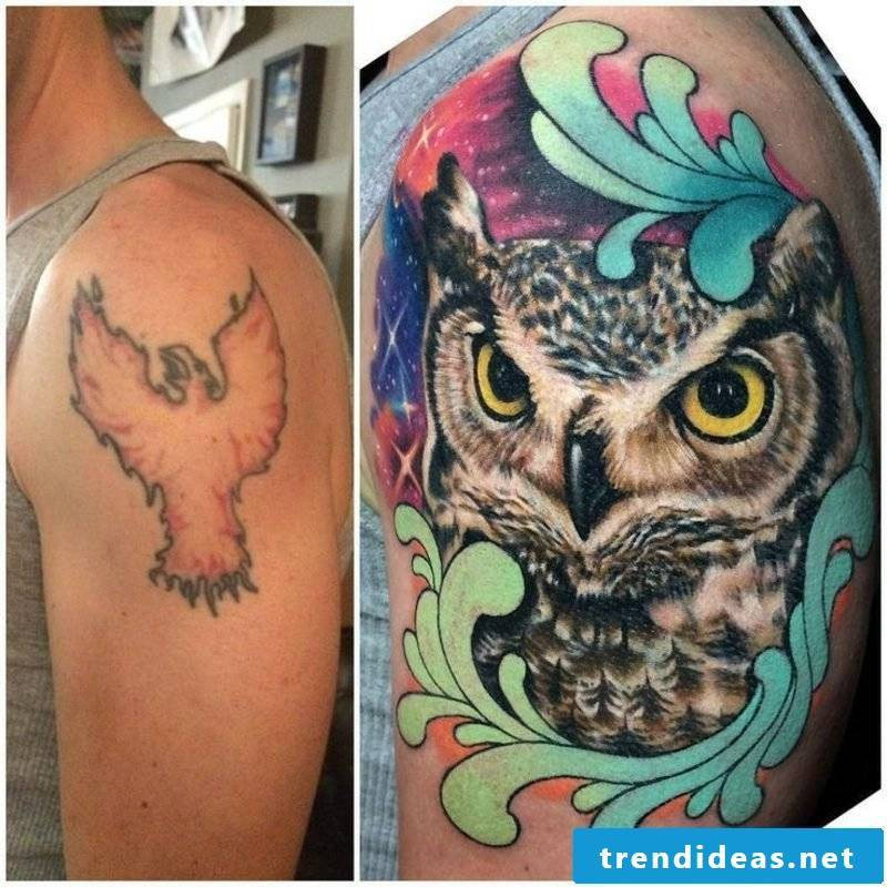 Cover up tattoo on the shoulder man