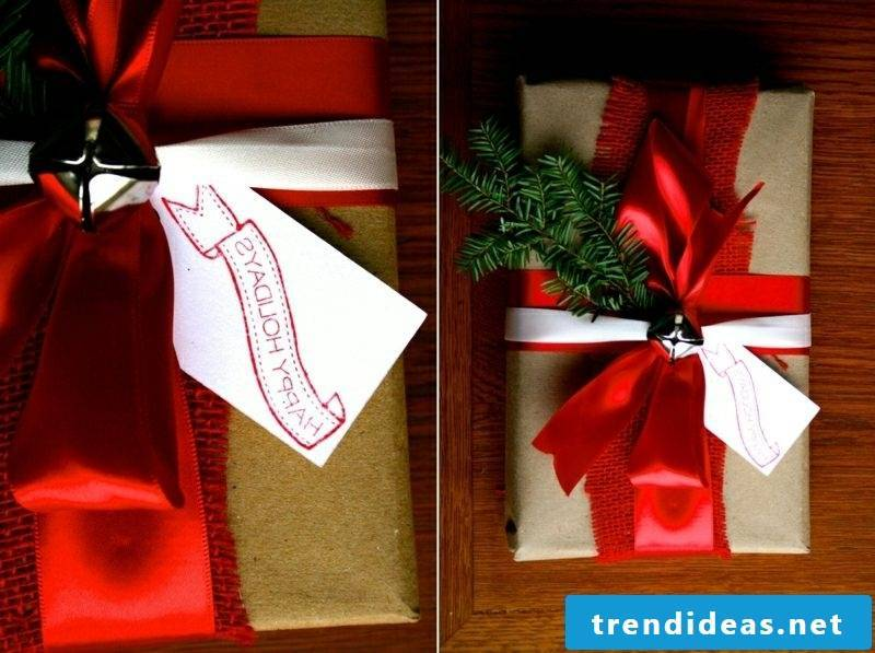 Gifts wrap Christmas red ribbon