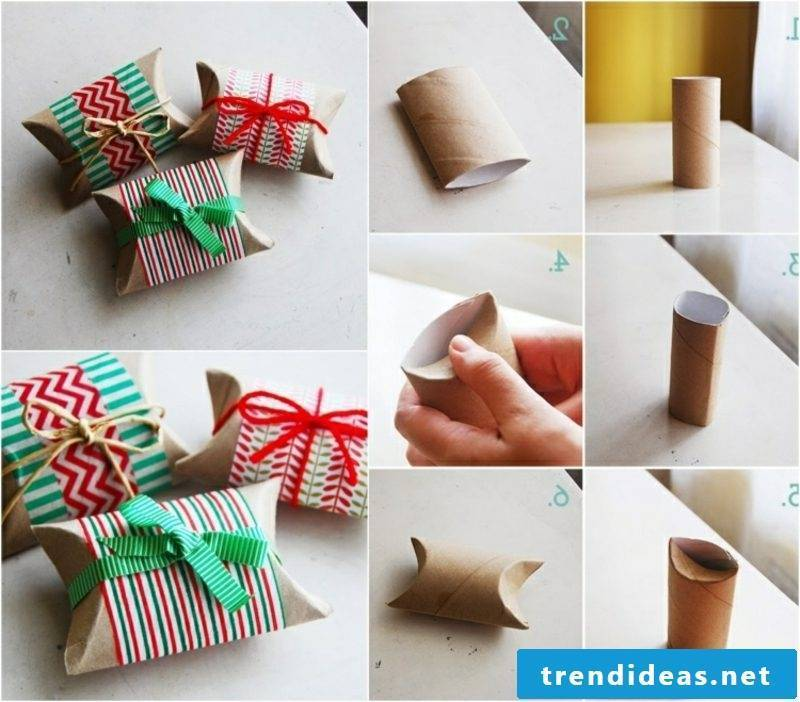 Gifts wrap Christmas present box from toilet paper rolls