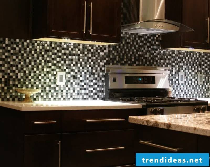 glass mosaic black white