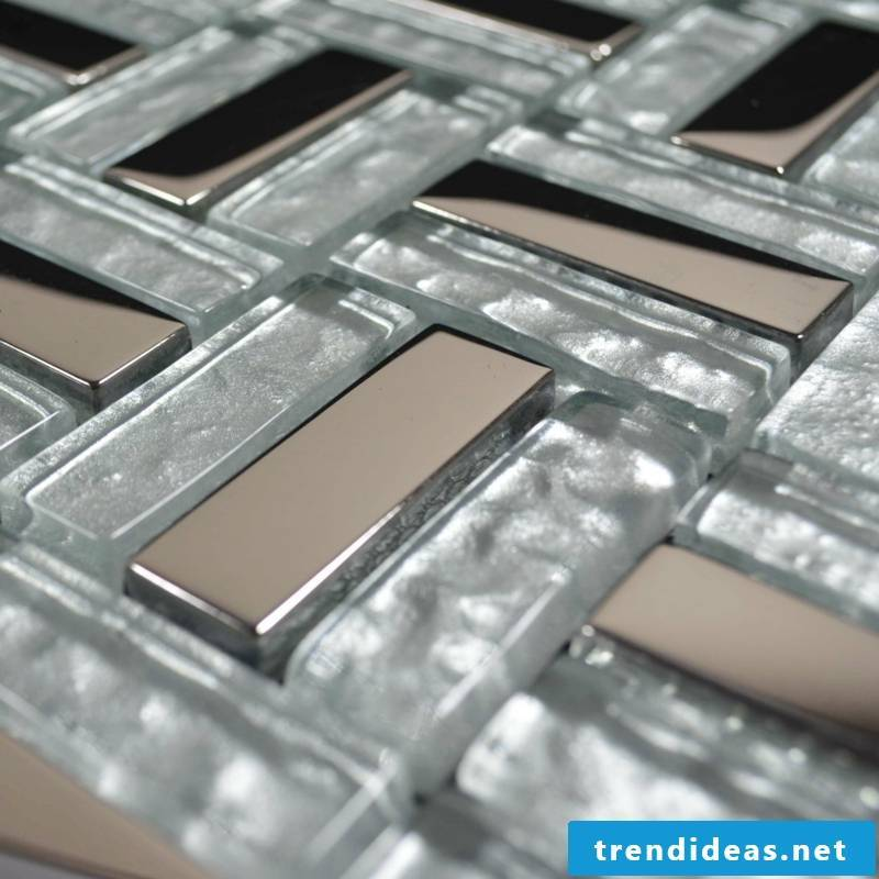 glass mosaic detail metal look