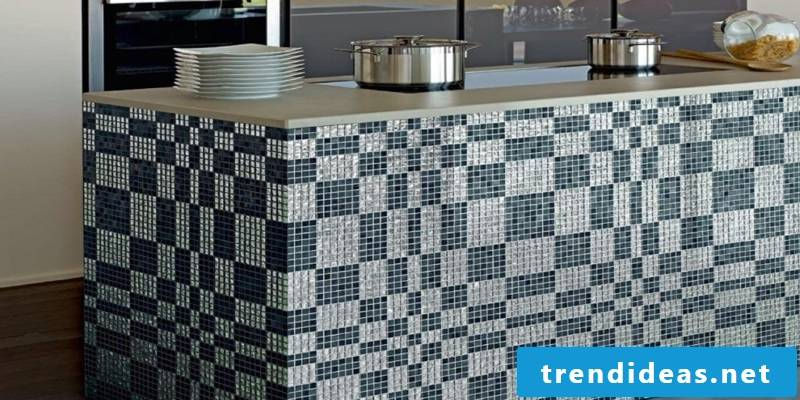 glass mosaic kitchen island