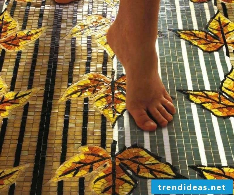 glass mosaic pattern floor tiles