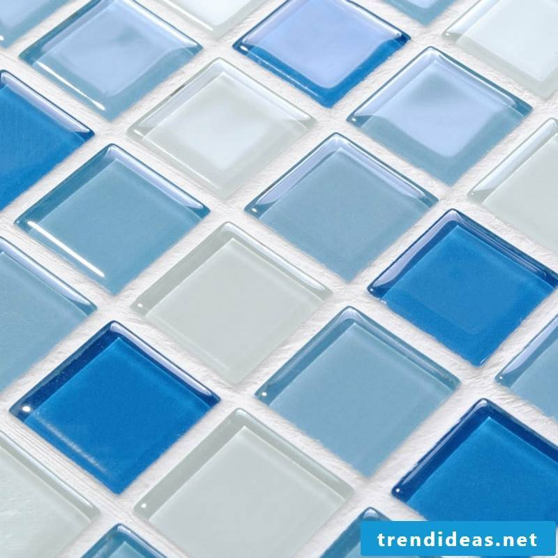 glass mosaic element in blue