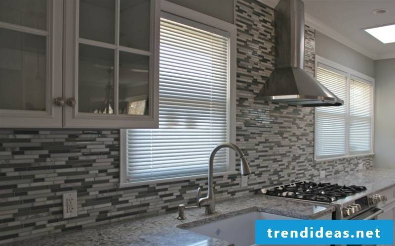 glass mosaic in gray for the kitchen