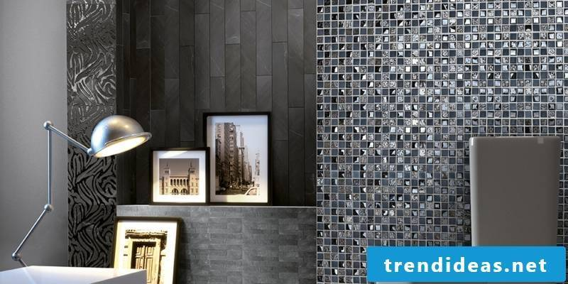 glass mosaic anthracite gray white mix