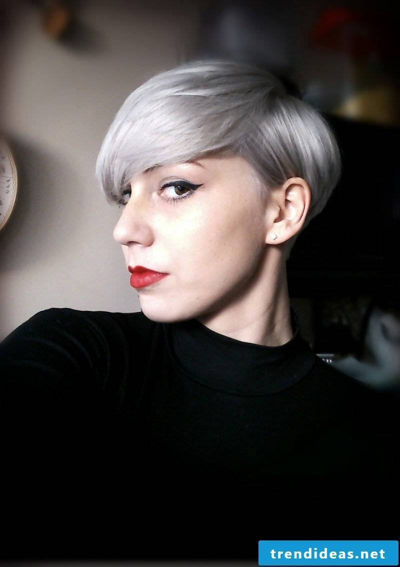 Shades of gray in short hair