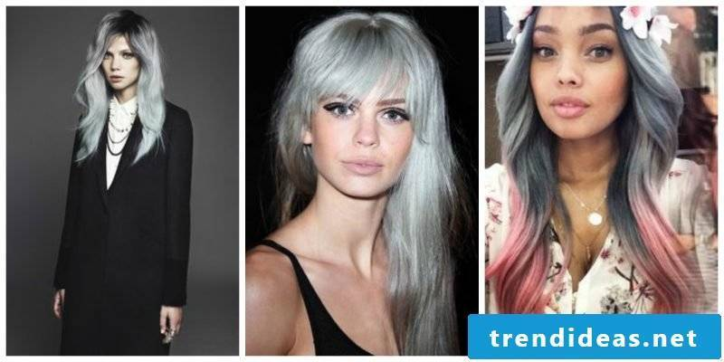 Gray hair: Combine shades of gray with pink hair