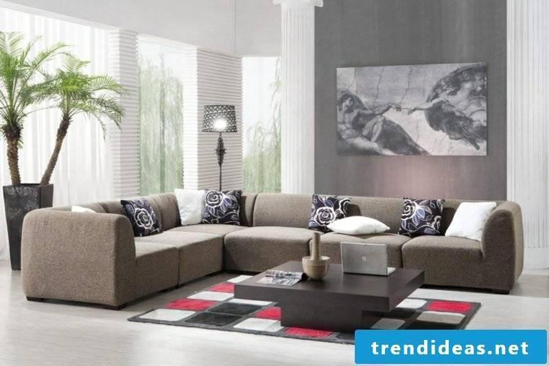 Living room gray wall design