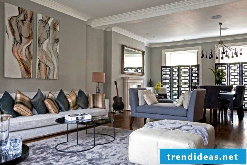 Living room Gray combine with other color