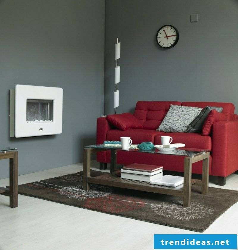Living room gray red couch as an accent